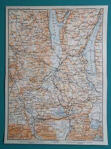 GERMANY-Bavaria-Ammersee-Polling-Murnau-Starnberg-Weilheim-1910-MAP-Baedeker
