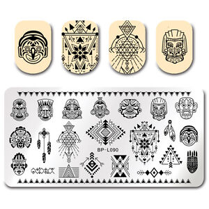 BORN-PRETTY-Nail-Art-Stamping-Template-Retro-National-Style-Indians-Image-Plate