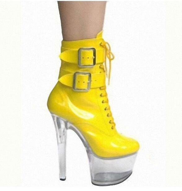 Fashion Women Buckle Strap Lace up Platform Block High Heels Stage Ankle Boots