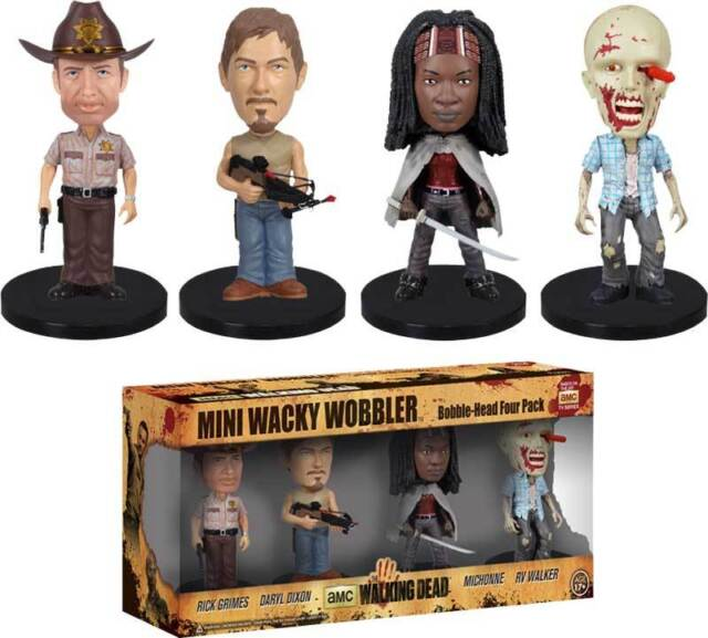 The Walking Dead Mini Wacky Wobbler Bobble Head Figure 4-Pack Rick Daryl Zombie+