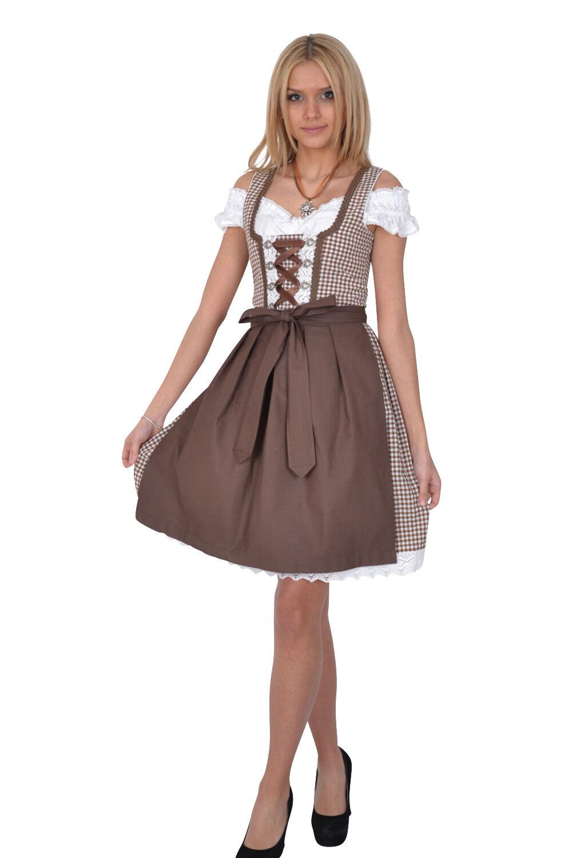 Dirndl Set Set Set Traditional dress 283GT Brown Chequered Oktoberfest Size 34 to 42 5bf6eb