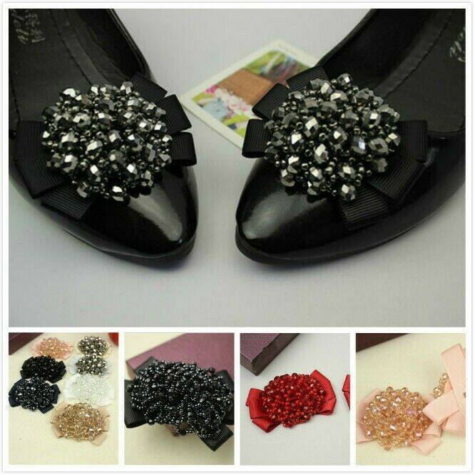 1 Pair Crystal Beads Bows Boot Shoe Clips Women Kids Girls Sandal Accessories