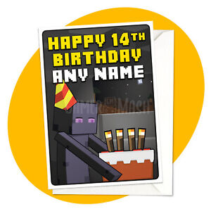 Enderman Cake - PERSONALISED BIRTHDAY CARD - Minecraft themed personalized gamer