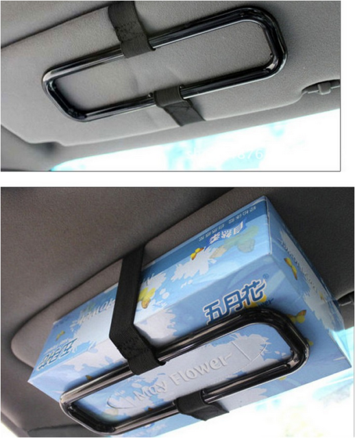 AUTO CAR ELASTIC BELT TISSUE NAPKIN BOX SUN VISOR / BACK SEAT HOLDER BLACK