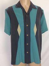 Nat Nast Luxury Orignials Aqua Bahama Island Silk Shirt Button Front Medium M