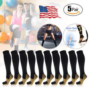 5-Pairs-Copper-Compression-Socks-20-30mmHg-Graduated-Support-Mens-Womens-S-XXL
