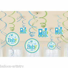 12 Little Blue WELCOME Baby Boy Shower Party Hanging Cutout Swirls Decorations