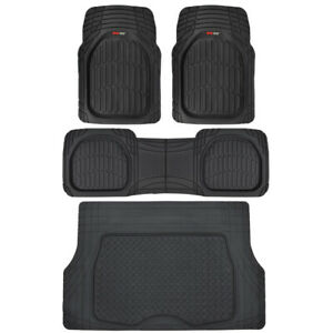 4pc All Weather Floor Mats & Cargo Set - Black Tough Rubber...
