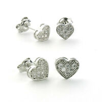 925 Sterling Silver Heart Micro Pave Earrings-micro Pave Stud  (6 Mm/8 Mm)