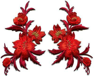 Red / orange flowers pair floral bouquet boho applique iron-on patches new S-980