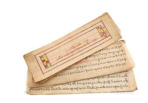 Antico-Lira-Da-Preghiere-Tibetano-Da-Monaco-Manuscrit-Tibetan-manuscript-9125