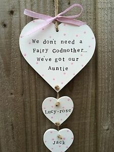 Image Is Loading Personalised Plaque Sign Hanging Heart Auntie Birthday Present
