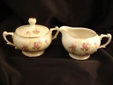 JAPAN 4 Occ Japan China Multi Color Scattered Roses Sugar Bowl, Lid & Creamer