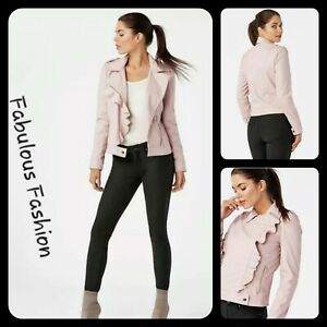 New-Lovely-Pretty-in-Pink-Soft-Ruffle-Faux-Leather-Moto-Jacket-M