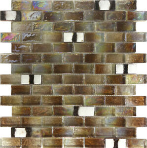 Image Is Loading 1sf Brown Iridescent Gl Mosaic Tile Kitchen Backsplash