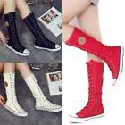 Women Girl Shoes Sneaker Punk EMO Lace Up Zip Boot Knee High Flat Tall Boot