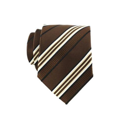 Fashion Mens Tie 8CM Brown Silk Neckwear Floral Dot Necktie Classic Neck Ties