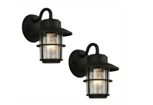 Outdoor-Exterior-Porch-Wall-Light-Lantern-Lighting-Fixture-Black-Glass-2-Pack
