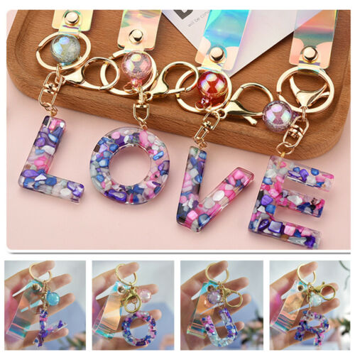 Women 24 Letter Beaded Key Chains Laser Leather Pendant Key Rings For Bags Gifts