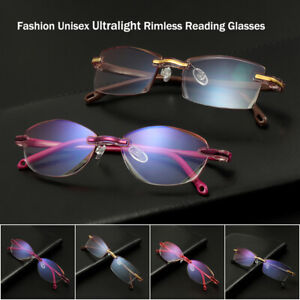 78c42db2a Details about New Unisex Ultralight Rimless Reading Glasses Women Men Clear  Lens Anti-Blu-Ray