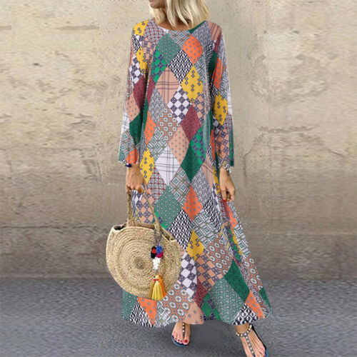 ZANZEA Women Long Sleeve O-Neck Geometric Printed Casual Loose Kaftan Maxi Dress