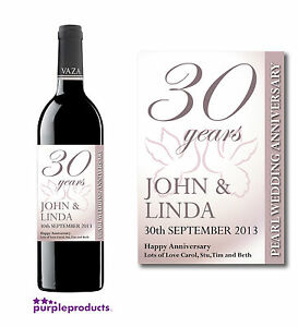 5 Wedding Anniversary Wine Label Stickers For 20th 25th 30th 40th 50th Gift... Home & Garden