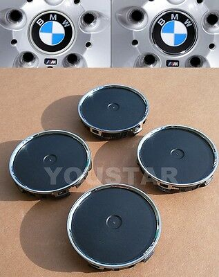 x4 ROYAL Conversion Wheel Center Caps CHROME RING Version for BMW all Series