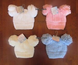BABY KNITTED DOUBLE POM POM HATS BOBBLE WHITE PINK BLUE BOYS GIRLS ... ade33a39dcf