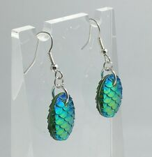 Mermaid Egg / Dragon Egg Scales Silver Plt Charm Earrings Clear Blue Green D002