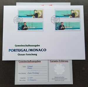 [SJ] Portugal Monaco Joint Issue Albert 1996 Ship (FDC) *dual PMK *guaranty card
