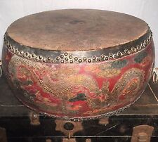 ANCIENT ANTIQUE DRAGON DRUM TEMPLE CHINESE JAPANESE 18th-19th CENTURY