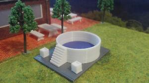 Spur HO | Aufstellpool | Swimmingpool  | Pool | mit Blumenkübel | Bausatz 1:87