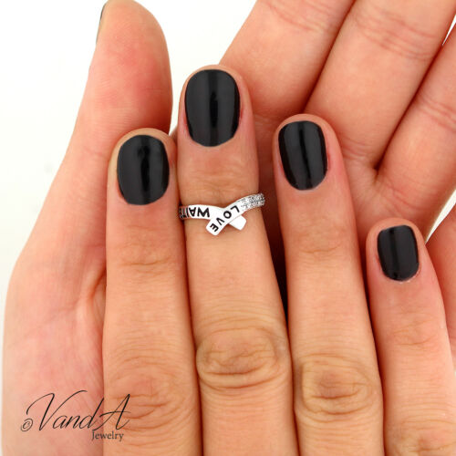Sterling Silver 925 Love Waits Knuckle Ring Above Band Promise Midi Ring T143