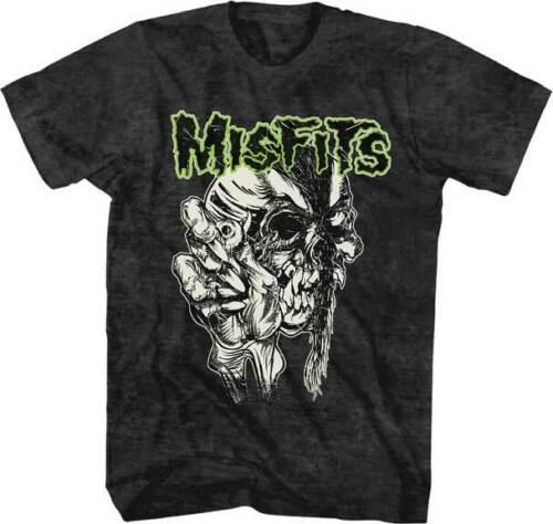 L XL Misfits Skull With Eye S 2XL Black Mineral Wash T-Shirt M