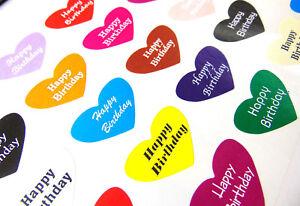 Original Coloré Joyeux Anniversaire Cœur étiquettes. Pour Cartes,cadeaux,enveloppes Belle Et Charmante