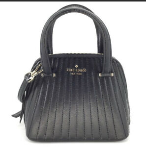 Kate Spade Patterson Drive Black Leather Quilted Mini Dome Satchel + Free Gift