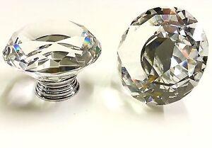 DIAMOND Crystal Glass Door Knobs Drawer Cabinet Furniture