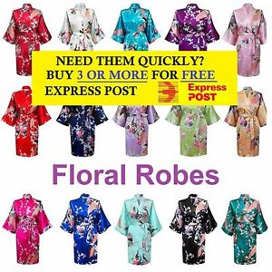 Image is loading FLORAL-SHORT-SATIN-BRIDAL-ROBE-WEDDING-PARTY-KIMONO- e9d6f1c50