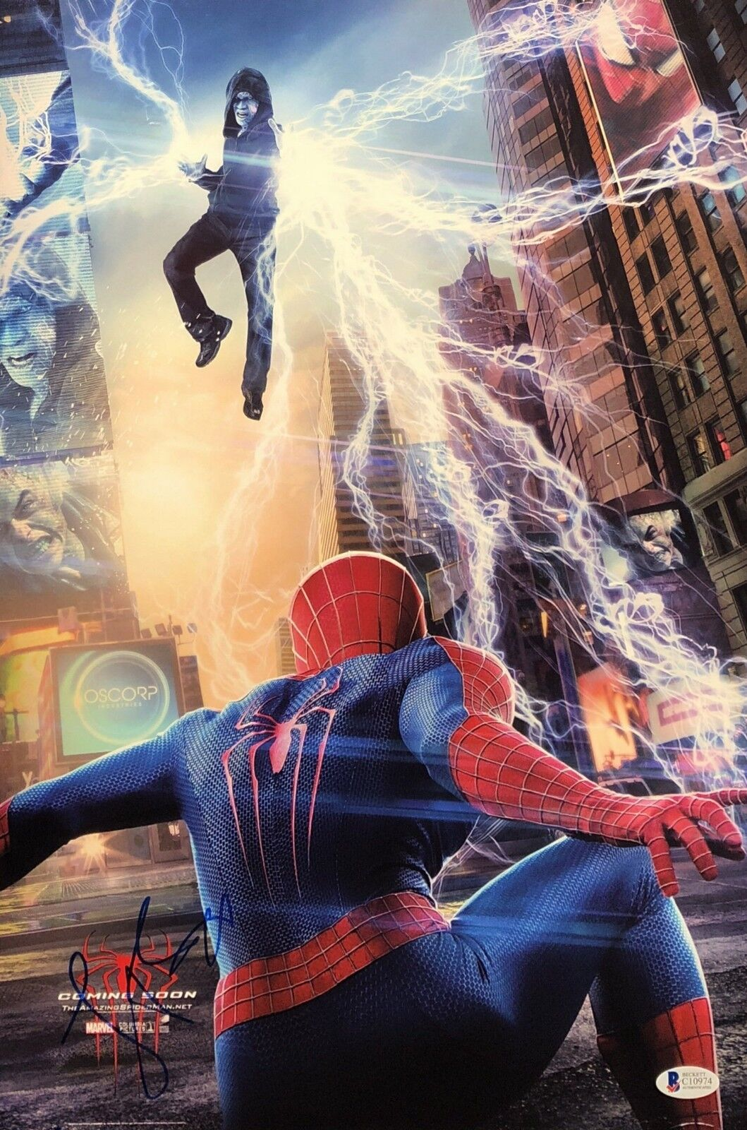 Jamie Foxx Signed The Amazing Spiderman 2 12x18 Photo Electro Beckett BAS C10974