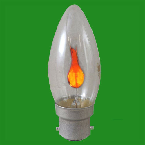 2x 3W Flicker Flame Candle Clear Light Bulb Chandelier Lamp B22 B15 E27 E14