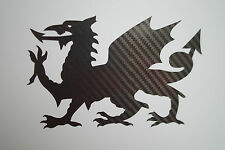 Large XL CARBON FIBRE Welsh Dragon car bumper sticker decal-Cymru Wales Rugby A4