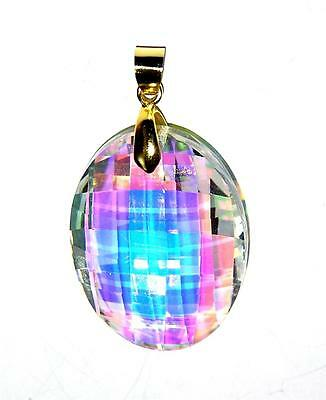"""PENDANT/NECKLACE 20"""" Adj Cord Glass Crystal Brilliant Faceted AB IRIDESCENT OVAL"""