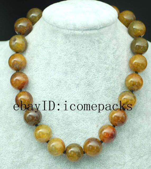 "yellow paring agate round 18mm 18"" beads wholesale necklace nature gift discount"