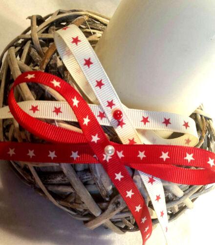 1m  9mm BERTIES BOWS CHRISTMAS RIBBON RUSTIC SCANDI STARS RED CREAM GIFT BOWS