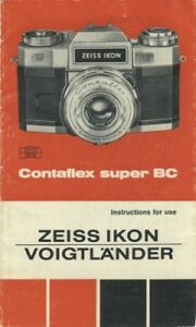 Details about Zeiss Ikon Voigtlander Contaflex Super BC Instruction Manual  Original 1968