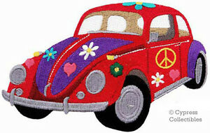 HIPPIE-FLOWER-POWER-CAR-embroidered-PATCH-PEACE-SIGN-SYMBOL-iron-on-APPLIQUE
