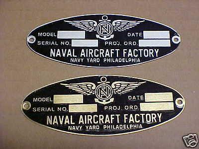 Naval Aircraft Factory Philadelphia Navy Yard Aircraft Data Plate WW2