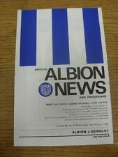 24/08/1968 West Bromwich Albion v Burnley  (folded). Thanks for viewing this ite