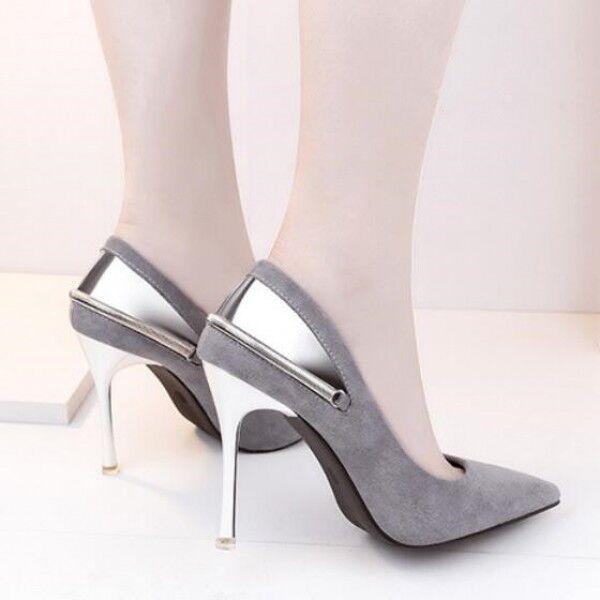 Recortes de precios estacionales, beneficios de descuento zapatos de salón mujer plata tacón aguja 10 cm talón perno como piel 8182