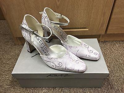 Orquídea Lila Estampado De Dama De Honor Boda Traje de Novia Brocade Zapato todas las tallas Petrina 3
